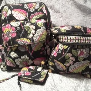 Vera Bradley backpack, hipster, wristlet